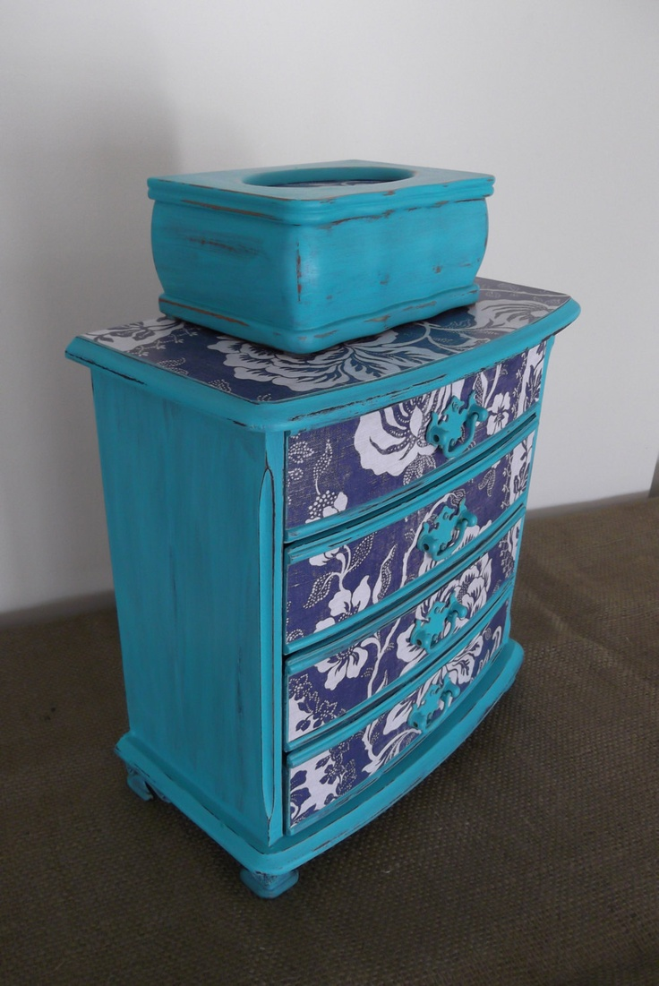 Beautiful French Turquoise Bleu Dresser Jewelry Box with French General Paper. $105.00, via Etsy.