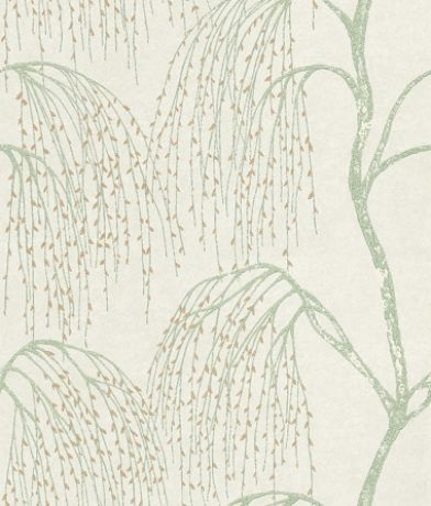 Willow (75470) - Harlequin Wallpapers - A delicate all-over willow tree design with a distressed paint effect.  Available in 5 colours. Shown in the aqua green with gold leaves. Please ask for sample for true colour match.