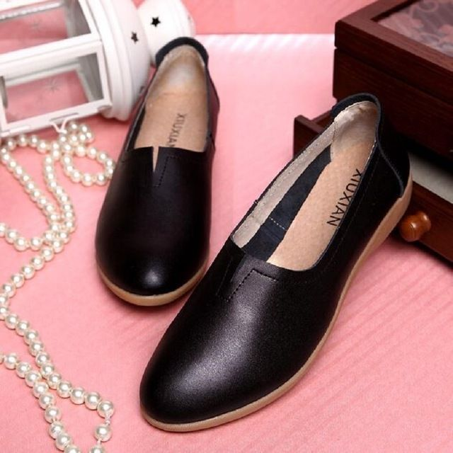 Blanco + negro + BROWN gran tamaño ( 35 ~ 40 ) nueva primavera 2016 mujeres del cuero genuino zapatos de los holgazanes ocio zapatillas de Ballet para mujeres
