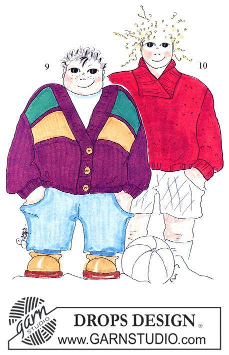 Gebreide DROPS Kindertrui in dubbele gerstekorrel met sjaalkraag van Alaska. Maat 3 – 12 jaar.  Gratis patronen van DROPS Design.