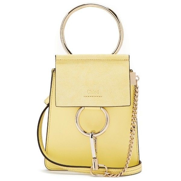 Chloé Faye mini suede-panel leather cross-body bag found on Polyvore featuring bags, handbags, shoulder bags, light yellow, leather crossbody, leather crossbody purse, mini crossbody purse, crossbody wristlet and mini crossbody