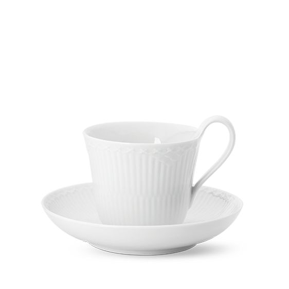 Royal Copenhagen White Fluted Half Lace High Handle Cup & Saucer 25 cl