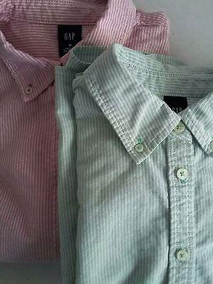 Gap Womens Oxford Green striped Button-down Shirt, size medium, Long Sleeve