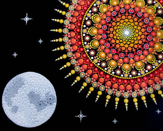 Greeting Card Sol And Luna Dotilism Print Photo Dot Art