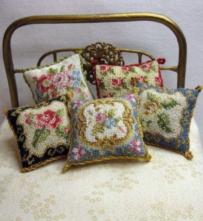 Nicola Mascall petit point cushions