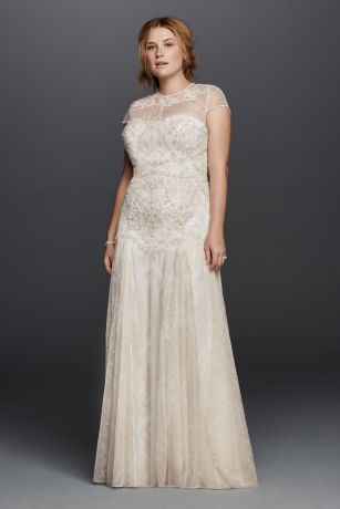 A trip to Morocco inspired the gilded motif on this lace sheath wedding dress. Designed with an illusion neckline and back, cap sleeves, and an airy godet skirt.  Melissa Sweet, exclusively at David's Bridal  Also available in Regular, Petite, Extra Length and Plus Size Extra Length. Check your local stores for availability.  Chapel train. Fully lined. Button back. Imported. Dry clean only. Cherish your wedding dress forever with our Wedding Gown Preservation Kit.