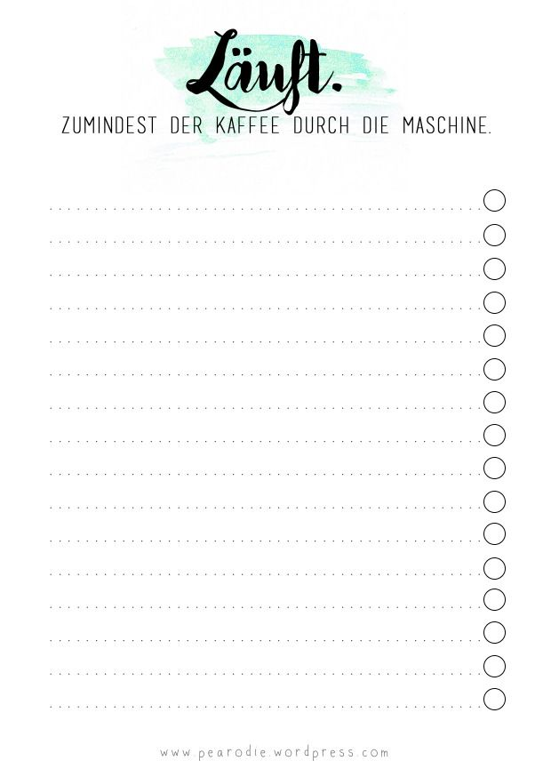 Stationary Filofax To Do List Free Print Printable Freebie Läuft Kaffee Pearodie