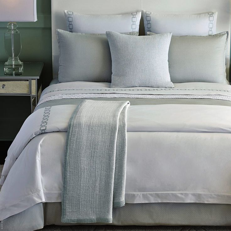 Vessa Duvet Cover Collection By Sferra White Cotton Percale Sheeting Has Been Detailed With Geometric
