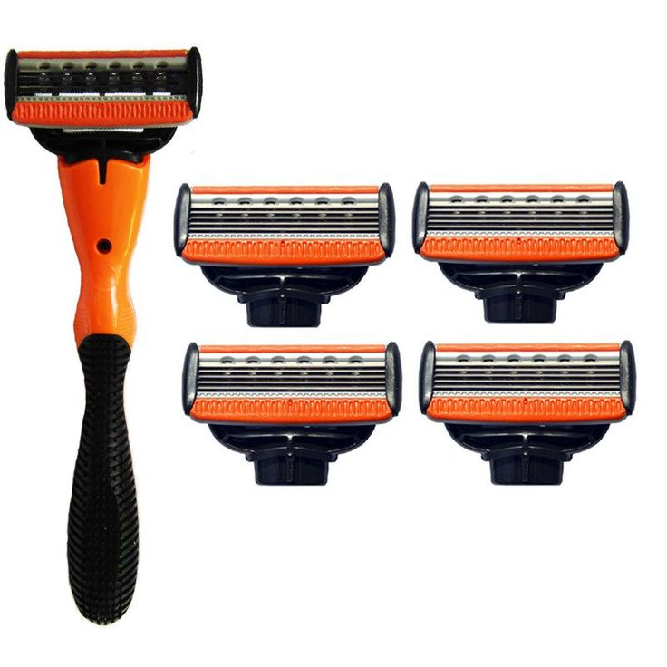 5 Razor Blades 1 Munual Handle 5 Pcs Blades Orange Holder Durable Safety For Men…