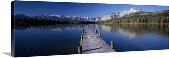 Pier over a lake, Hector Lake, Mt John Laurie, Rocky Mountains, Kananaskis Country, Calgary, Alberta, Canada