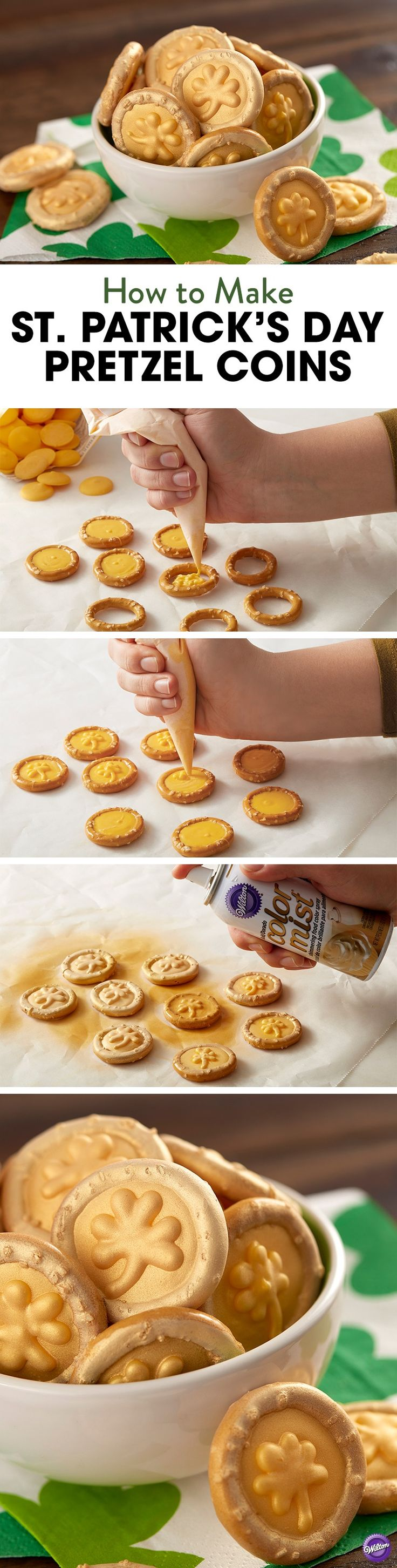 How to Make St. Patrick's Day Pretzel Coins - No need to chase the end of a rainbow for a pot of gold. Just make your own! Fill round pretzels with melted Yellow Candy Melts. Pipe shamrock and spray with Gold Color Mist Food Spray. A great project for beginners, this St. Patrick's Day snack is sure to bring you good luck and good fortune!