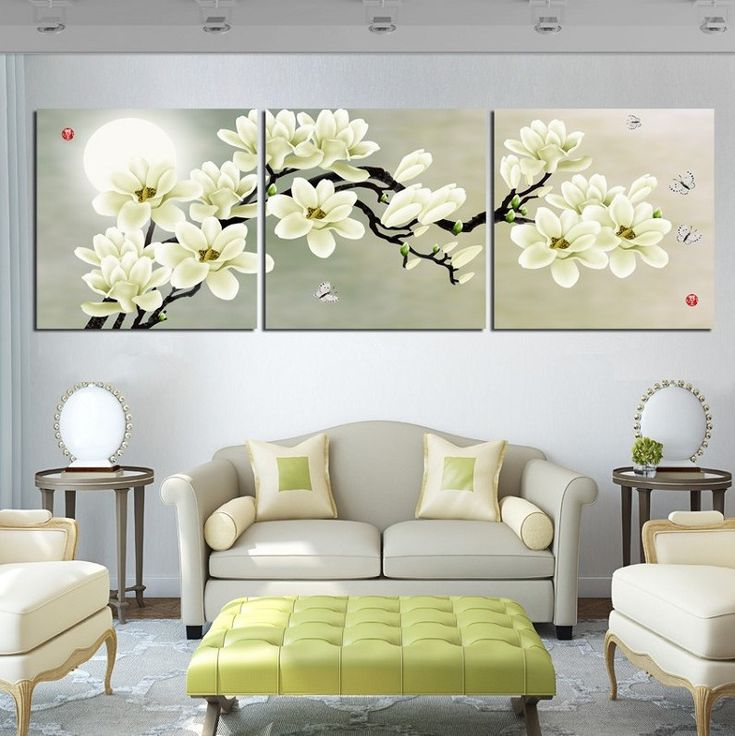 envío gratis 3 pieza de arte de la pared de imagen decoración de hogar excelente corazón blanco un montón flores para sala de estar sobre lienzo imagen moderna