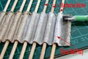 How to make doll or Putz house Spanish roof tiles out of cardboard.