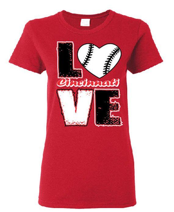 Love Cincinnati Baseball Screen Printed t shirt Free Shipping