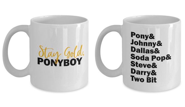 The Outsiders Stay Gold Ponyboy Mug Gift SET OF TWO Greasers Socs Soda Pop Johnny Book Hinton Coffee Cup