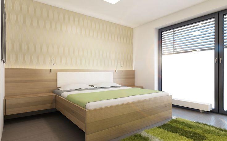 Návrh designu ložnice jsme velkou měrou podřídili přáním investora. Požadavkem byla nadstandardně vysoká postel a použití tapety a doplňků v zelených odstínech.
