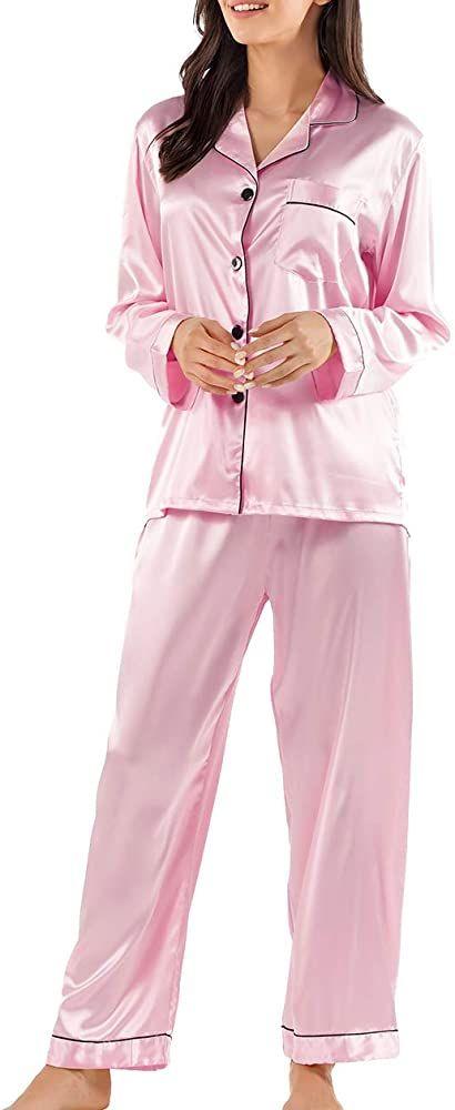Maternity Pajama Set, Satin Pj Set, Nightgowns For Women, Silk Pajamas, Pajamas Women, Aesthetic Fashion, Lounge Wear, Fashion Outfits, Christmas Pajamas