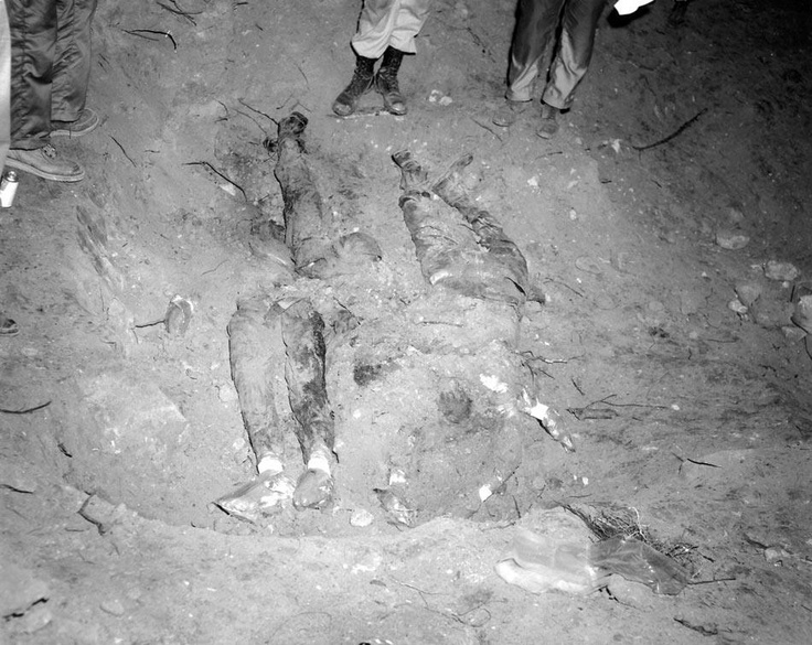 "Remains of the 3 civil rights workers shot to death & buried underneath an earthen dam near Philadelphia, Mississippi during ""Freedom Summer"", 1964. Andrew Goodman was a 20-year-old white Jewish anthropology student from New York; James Chaney was a 24 year old activist from Meridian, Mississippi and Michael Schwerner, a 24-year-old white Jewish CORE organizer and former social worker also from New York, they dedicated and lost their lives working for voter education and registration."
