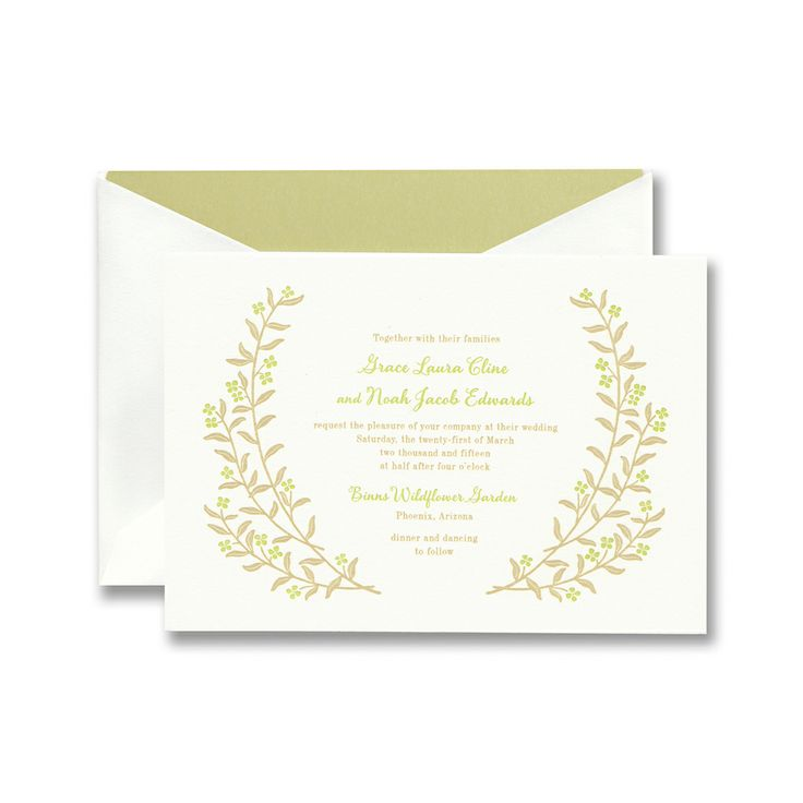 Letterpress botanical invitation on Lettra paper with antique gold and pistachio ink.