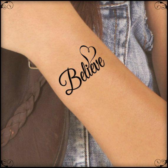 Temporary Tattoo Believe Heart Fake Tattoo Thin by UnrealInkShop