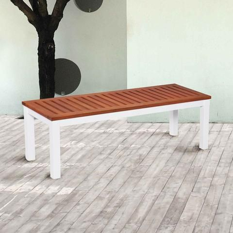Southern Enterprises, Inc OD2713 Mandalay Outdoor Backless Bench   Soft  White   With White Aluminum