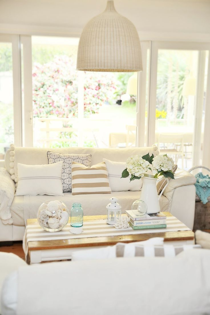 a beach cottage coastal family room makeover with drop cloths - Beach Cottage Decorations
