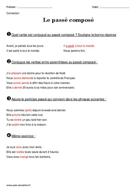 Passé composé - Ce2 - Exercices à imprimer (2020) | Passé ...