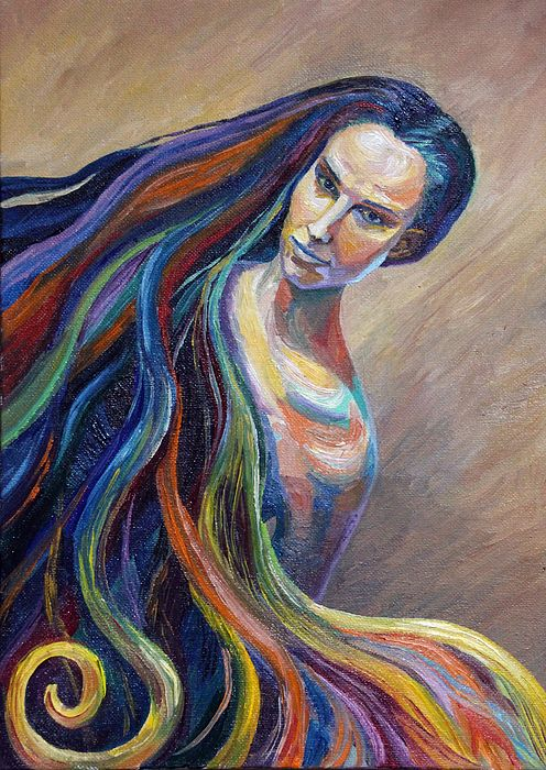 PORTRAIT OF A GIRL by ALINA MALYKHINA.   Belongs to the Gallery Russian Artists New Wave.  The portrait of young woman with long rainbow hair. #AlinaMalykhina #RussianArtistsNewWave #Rainbow #Girl #Painting #ArtForSale #FramedPrints