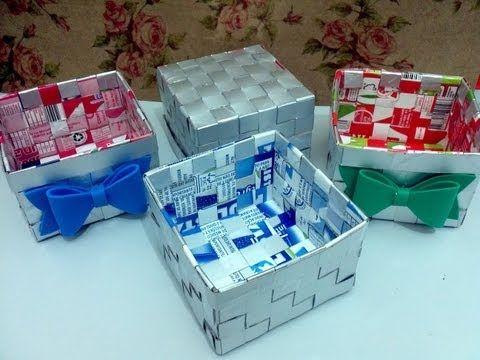 Cesta com caixa de leite - Artesanato - Reciclagem - Passo a passo - Tutorial - Diy - YouTube