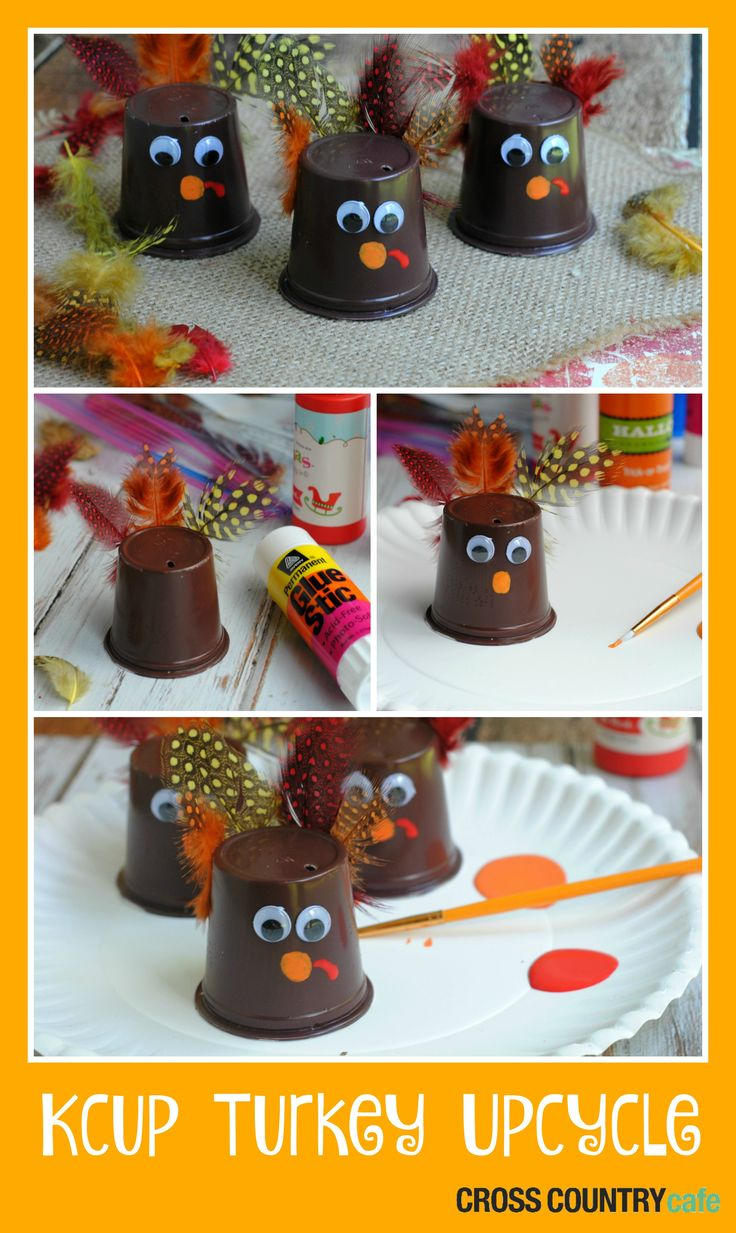Super cute way to up-cycle Kcups into a fun and kid friendly Thanksgiving Day craft!