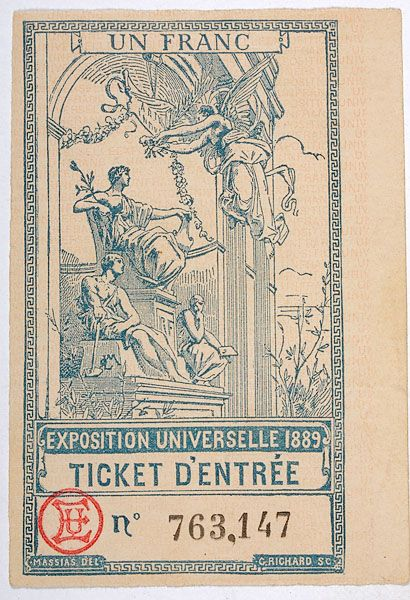 lithographed ticket to the 1889 Paris World's Fair
