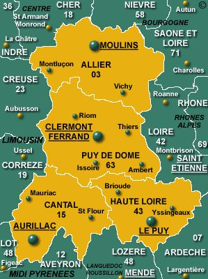 Auvergne Region Map