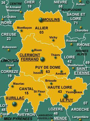 Auvergne Region Map