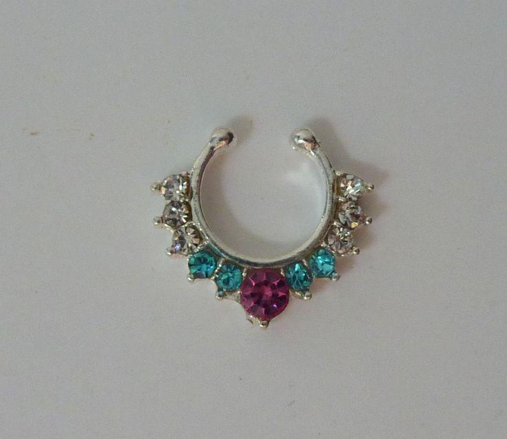 Silver Fake septum ring, fake nose ring, silver fake nose ring, fake nose ring, silver fake septum ring, septum ring, silver septum ring,S40