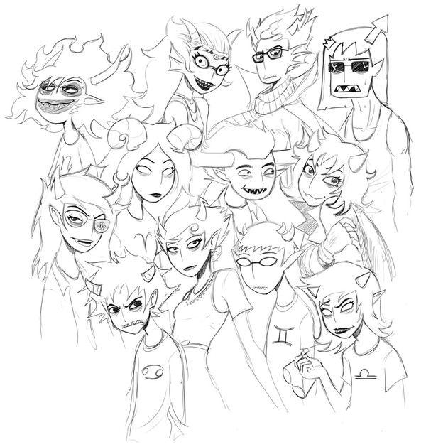 Tom Siddell draws Andrew Hussie's Homestuck trolls
