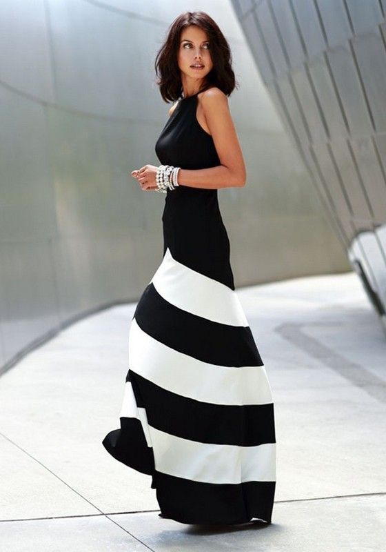 Black-White Striped Color Block Cross Back Round Neck Sleeveless Dress - Maxi Dresses - Dresses