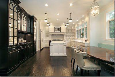 Black built-ins in dining room