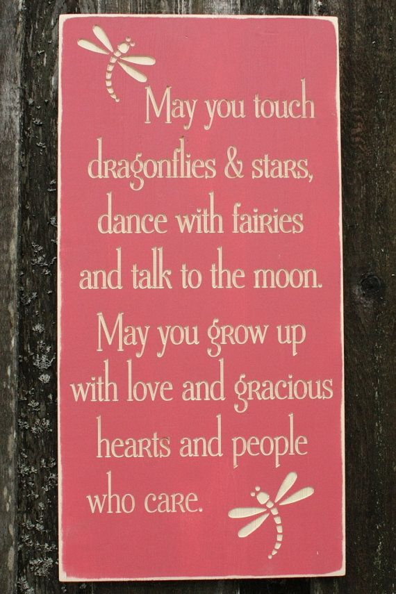 May You Touch Dragonflies Girl's Bedroom Wood Sign Nursery Decor - 15x30