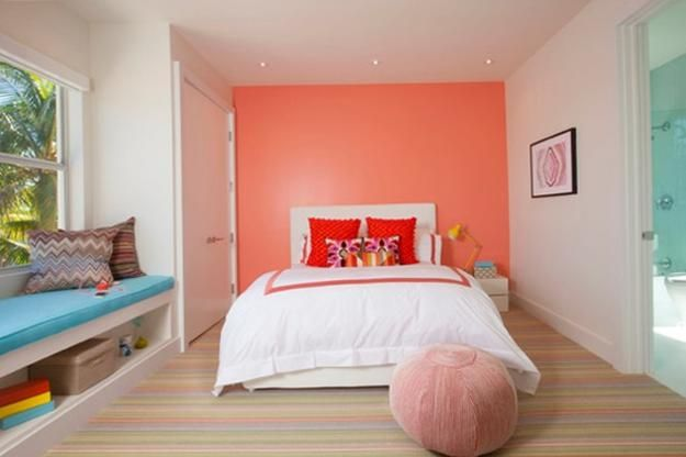 386 best coral paint and interiors images on pinterest for Peach bedroom decor