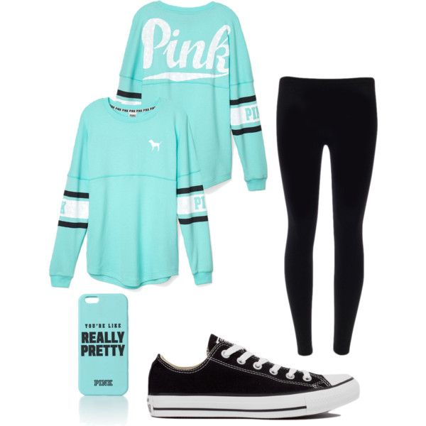 Untitled #22 by mrsjackson602 on Polyvore featuring polyvore fashion style Victoria's Secret PINK Converse Victoria's Secret