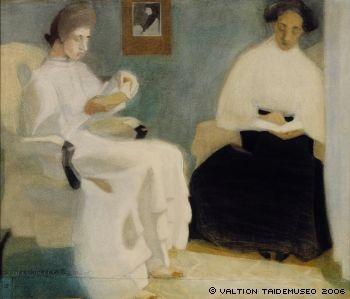 Girls reading, 1907 - Helene Schjerfbeck (Finnish, 1862-1946)