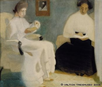 Girls reading, 1907 - Helene Schjerfbeck (Finnish, 1862-1946)