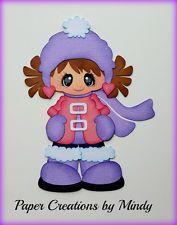 craftecafe Минди зима снег девочка premade шитье по бумаге для страницы для скрапбукинга