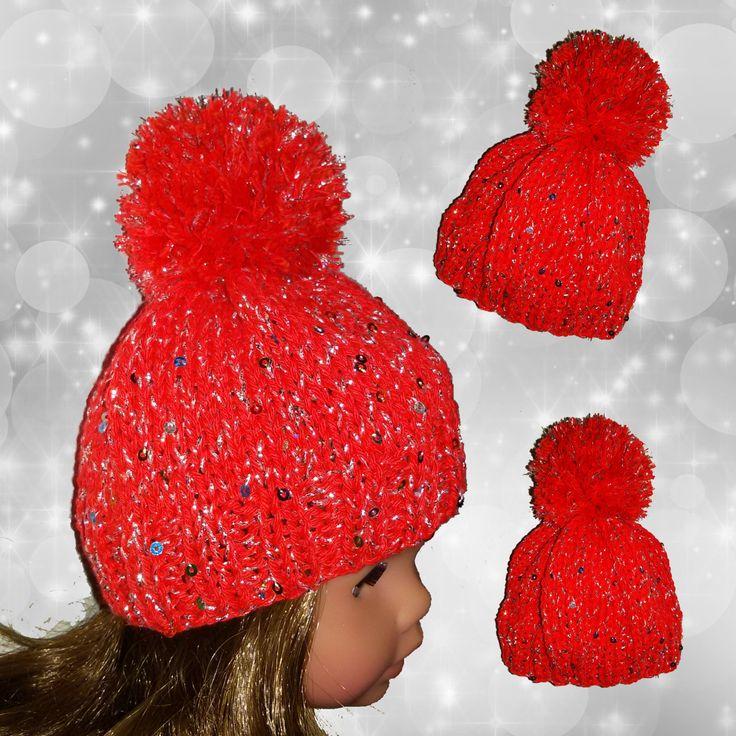"""Cappello rosso con pom pom//maglia cotone e paillettes//moda Italiana per American Girl Doll 18"""" di RobysDollsFashion su Etsy"""