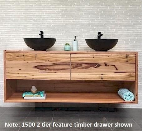 Momento Eureka 1500mm 2 tier solid timber vanity   Bathroomware House