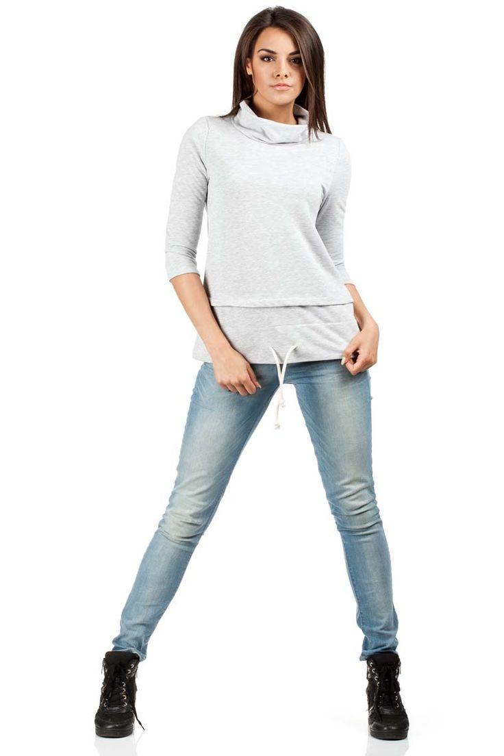 Gładka bluza damska z odcieniami szarego z przeszyciami