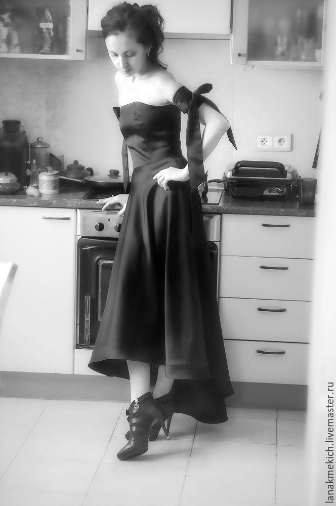 """Купить Вечернее платье """"Колдовское зелье"""" - черный, однотонный, черное платье, черное шелковое платье"""