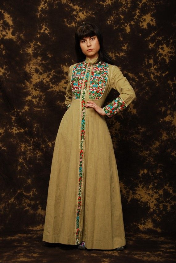 Long Mexican Embroidered caftan Dress
