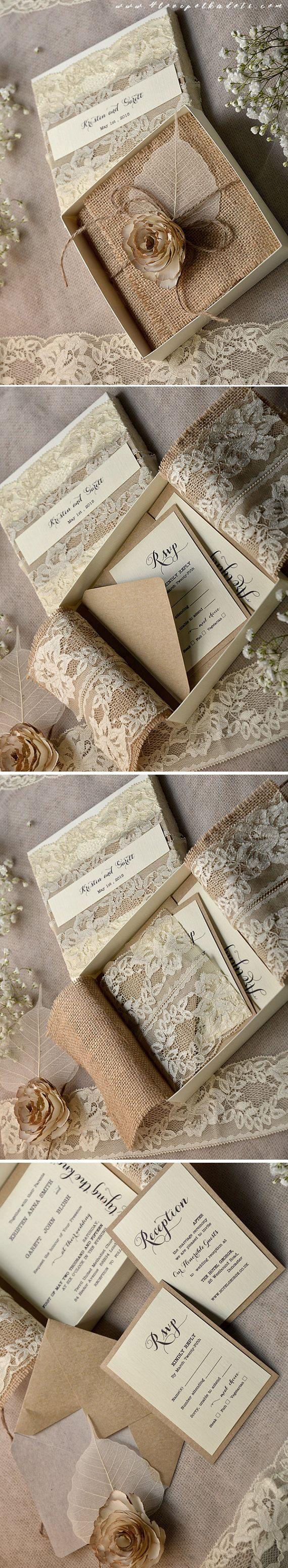 Wedding Invitation in a box Burlap