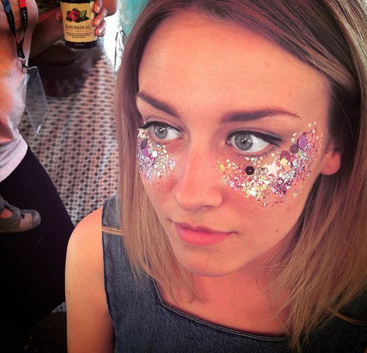 Glitter and sequinned festival makeup
